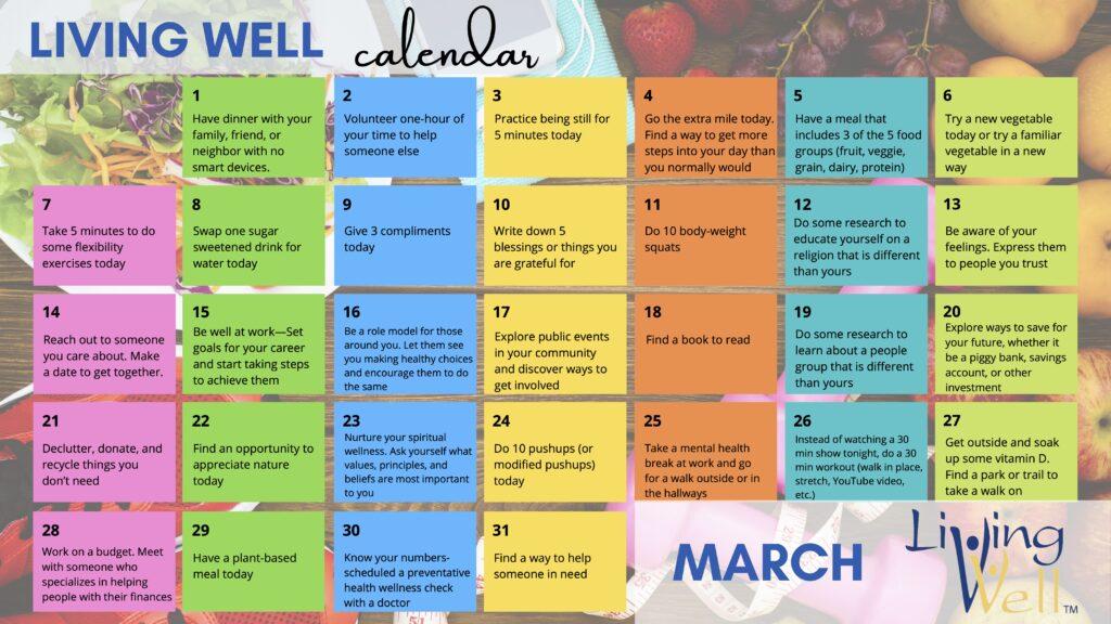 Living Well Calendar